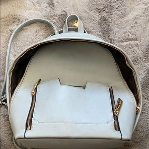 Blue  faux leather backpack